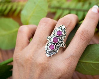 Ruby Ring, Gemstone Ring, July Birthstone Ring, Solid Sterling Silver Ring, Red Ruby Silver Ring, Boho Gypsy Ehtnic Ring, Vintage Style Ring
