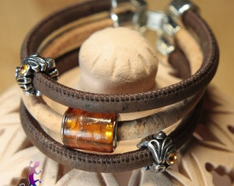Original cork bracelet with lampwork glass bead amber  and  silver metal beads.