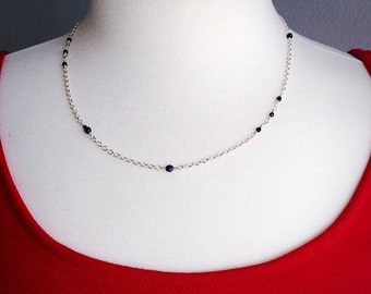 Stardust Necklace - Blue Goldstone and Sterling Silver Necklace - Sterling Silver Necklace - Chain Necklace - Blue Goldstone Beads