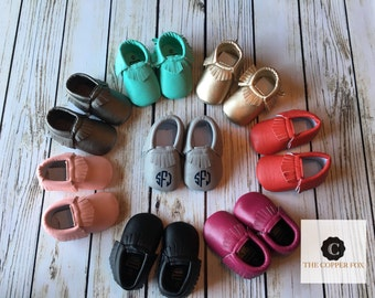 2 PAIR SPECIAL Custom Baby Moccasins, Crib Shoes, metallic moccasins