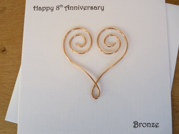 8 Year Wedding Anniversary Gifts For Her: 8th Anniversary Card Eight Years Bronze Wedding 8 Years
