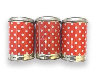 Vintage USSR Soviet Metal Cans Polka Dotted