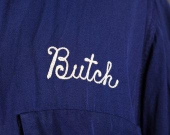 "Vintage 1940s Blue Gabardine ""Butch"" Chain Stitched Loop Collar Shirt Rockabilly"