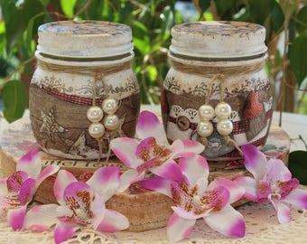 Wedding/Vintage/Shabby/Jar/handmade Wedding/Decoupage/favor/glass vase/gift ideas/Gift invitados/birthday/mother's day