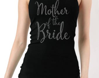 Mother of the Bride Rhinestones Ribbed Tank Top