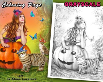 PRINTABLE Coloring Page, Grayscale. Halloween