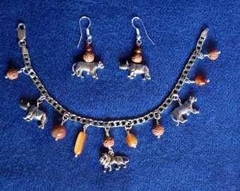 Silver Jewelry Set / African Animals / Sterling Silver / Bracelet & Earrings / Charm Bracelet / Bohemian / Safari / Tiger / Lion / Rhino