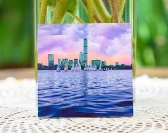 Boston skylines,Charles river,ceramic coasters,ceramic tiles,Boston kitchen decore,office decore,Boston home decore.