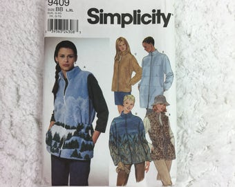 Simplicity 9409 Sewing Pattern Misses' Vest and Jacket Size 18-24 / plus size / zip front jacket / zip front vest / outwear / winter wear