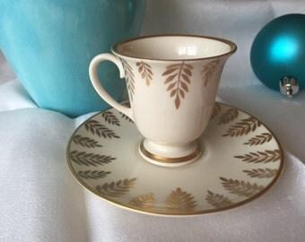 Vintage Demitasse Cup & Saucer Set, Rare C.O. Mouness, Mid Century Gold Leaf Demitasse