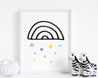 Modern nursery art, 50% OFF, kids art prints, nursery wall art, nursery prints, modern nursery, art, instant download printable art  Rainbow