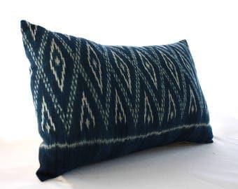 Contemporary INDONESIAN INDIGO, Handwoven, IKAT Cotton Cushion!
