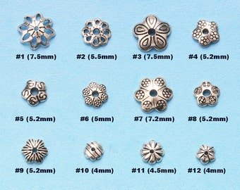 20 of 925 Sterling Silver flower Plain Bead Caps (MB003)