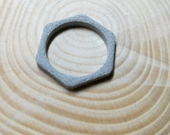 metallic grey strong plastic hexagon ring, 3d printed stacking ring, mens Valentine gift, geometric minimal, tech gift, geek gift