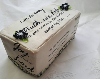 Bible verses Fabric Tissue Box Cover, Tissue box holder with lace, mothers day gift