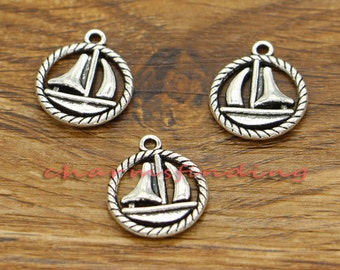 20pcs Sailboat Charms Nautical Charms Antique Silver Tone 19x16mm cf0469