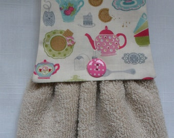 Hanging Hand Towel, Handmade Cream Towel with Tea & Biscuit Cotton Fabric Top