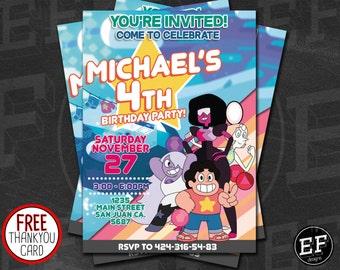 Steven Universe Party Invitation, Digital Birthday Party Invitation, Customized Printable Steven Universe Birthday Invitation