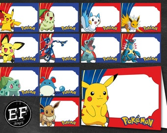 24 Pokemon Food Tent Cards instant download, Printable Pokemon Labels, Pokemon Party Table Label POKEMON