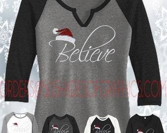 Custom Believe - Santa Hat 3/4 Sleeve Raglan, We Believe in Santa, Do You