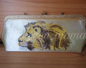 Lion - Handpainted Vintage Handbag