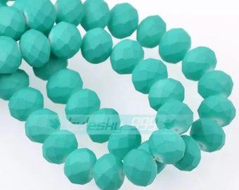 8 mm Crystal  Rondelle bead  36 pcs Aqua color (Mint)