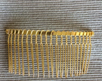 80 x 40MM Light Gold Metal Hair Comb