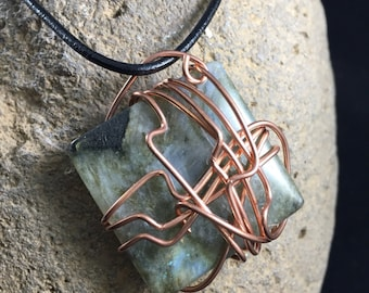 Beautiful Laboradite Stone in a Whimsical Abstract Copper Wrap