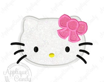 Kitty Applique 4 Machine Embroidery Design File 3x3 4x4 5x7 6x10 hk bow cat Hello INSTANT DOWNLOAD
