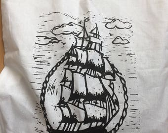Silk screen sailing ship tote bag