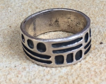 Old Southwestern Geo Pattern 925 Sterling Silver Pinky Finger Band Ring size: 5.75
