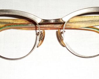 Vintage Eyeglasses.  Aluminum Frame.  Plastic Bows.  Universal Optical Co.