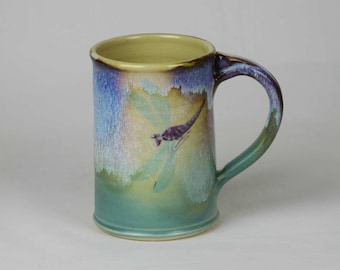 Hand made ceramic pottery mug, dragonfly mug, green ceramic mug, blue ceramic mug, stonware mug, dishwasher safe mug, microwave safe mug