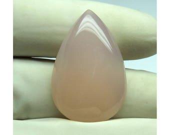 21Cts Pink Chalcedony Pear Shape Loose Gemstone Cabochon Semi Precious Jewelry Making Pink Chalcedony Gemstone 31X20X7mm B-6131