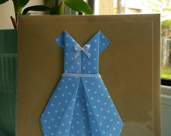 "Polka dot Origami dress on a 6x6"" greeting card."