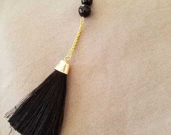 Black Bead Tassel Necklace
