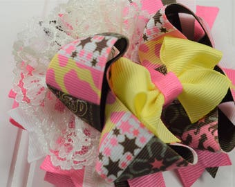 Country Girl Hair Bow-Western Hair Bow-Lace Hair Bows-Western Star Bows-Cow Print Hair Bow-Hair Bow with Spikes-Pink and Brown Hairbows