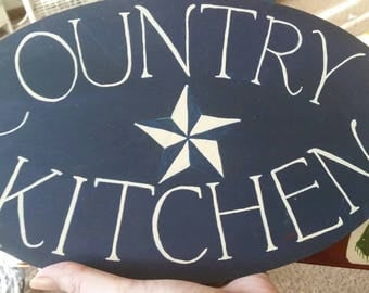 Country Kitchen wooden plaque. 12.5x7.5 in