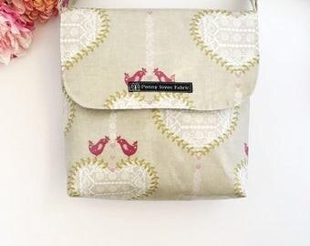 Bird handbag, bird purse, vegan bag, bird bag, fabric bags, fabric purses, crossbody bag, oilcloth purses, bird fabric, bird lover gifts