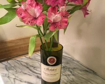 Hand-Cut Wine Bottle Vase, Brotherhood, Cabernet Sauvignon
