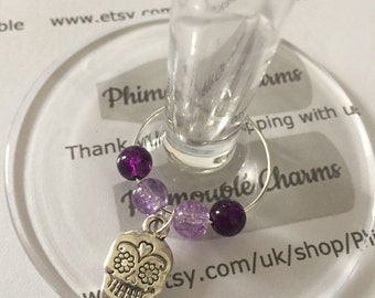 Day of the Dead Skull Wine Glass Charm