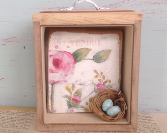 Birds nest and eggs shadow box assemblage with original art painting