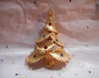 Vintage JJ Jonette 1960s Christmas Tree Brooch Pin Rhinestone Ornaments Costume Jewelry