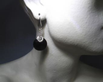 925 silver long earrings, onyx and zirconia