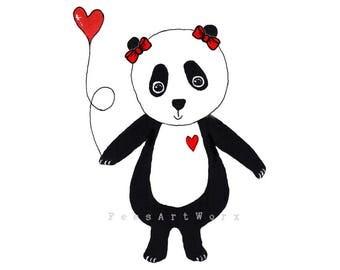Personalised Panda Art, Panda Art, Panda Print, Panda Wall Art, Panda Gift, Panda Bear Art, I Love You Gift, Love Art, Anniversary Gift
