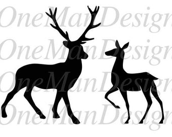 Stag & Doe Silhouettes Vector - Stag and Doe Head vector - SVG Stag and Doe - Deer Silhouettes vector - SVG Deer