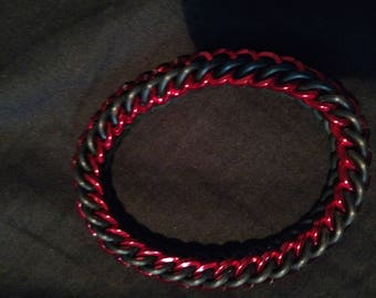 Red and Black Stretchy Square Wire Chainmaille Bracelet
