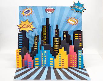 3D Super Hero City Scape Backdrop Centerpiece