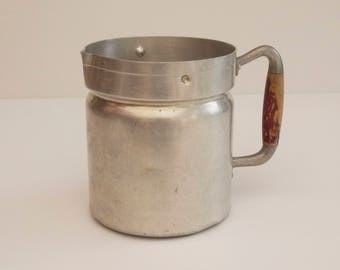 French vintage aluminum Milk Jug by Tournus Pot, Planter Pot. Chic french Country Decor