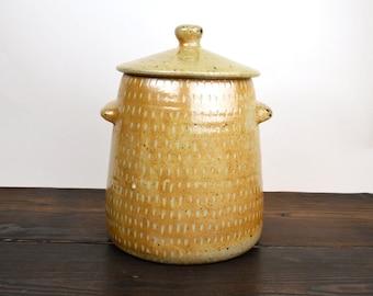 lidded jar, wood fired stoneware